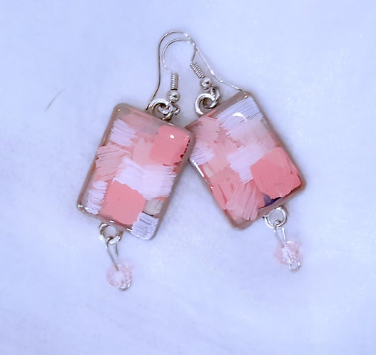 Geometric Abstract Original Painting Earrings