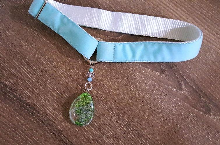 Aqua blue velvet martingale collar with quartz crystal pendant & glass beads