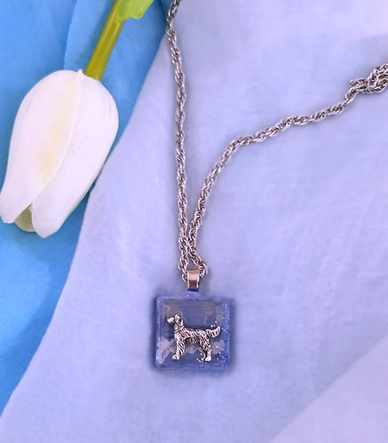Retriever on hand-painted water theme background, pendant necklace
