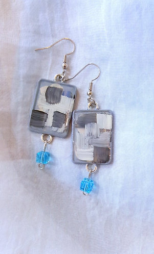 Geometric Abstract Original Painting Earrings - one of a kind