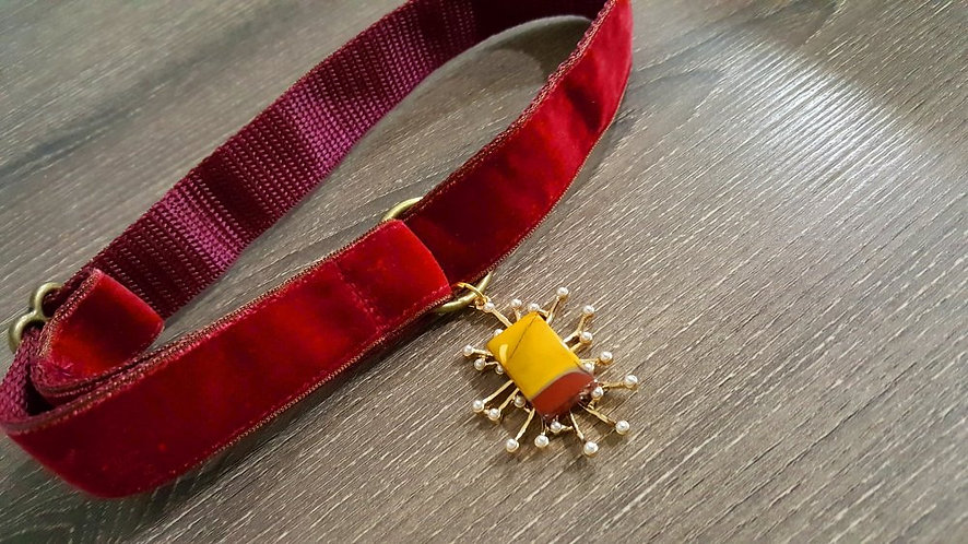 Red Velvet Martingale Collar with Semiprecious Stone amended pendant