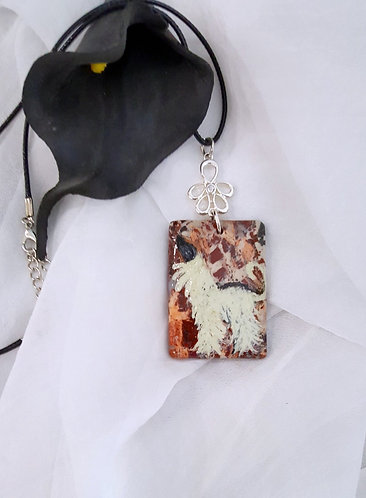 Hand-painted Afghan Hound on Semiprecious Stone pendant necklace