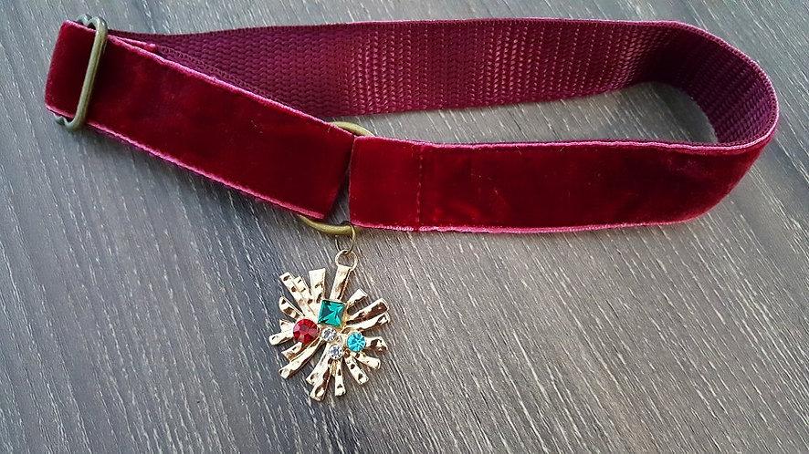 Red velvet martingale collar with modern sunburst/starburst pendant