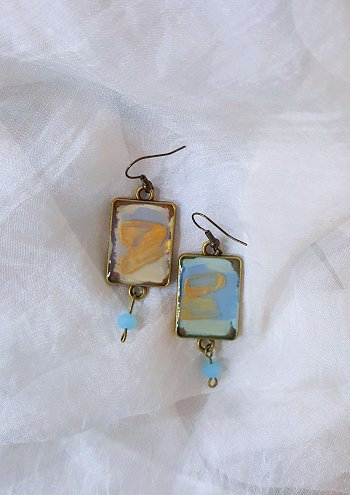 """Calm Shimmer"" Abstract Original Painting Earrings"