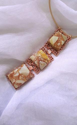Stunning Semiprecious Stone Triptych & Metal Pendant Necklace