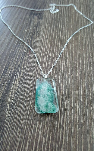 Green & Cream Quartz Crystal Pendant - one of a kind