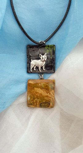Bulldog with City Night Backdrop pendant necklace