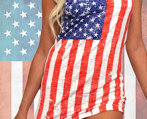 USA Distressed Flag Burnout Tank Dress Cover-Up
