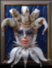 арлекин маска панно из кожи картина