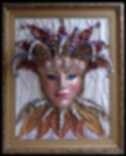 арлекин маска панно из кожи объёмная картина