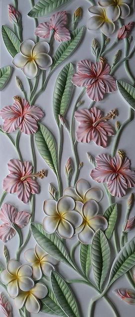цветы азии гипсовая лепнина с росписью