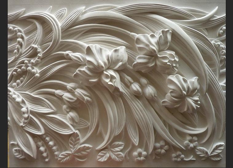 стиль модерн гипсовая лепнина фриз барельефы ирисы