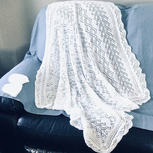 LOUISE - HAND KNITTED HERITAGE BABY SHAWL - Made in NZ