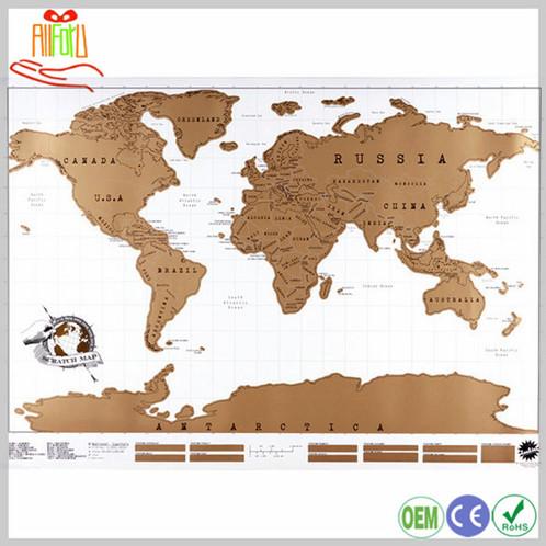WORLD SCRATCH MAPS - Framed world scratch map
