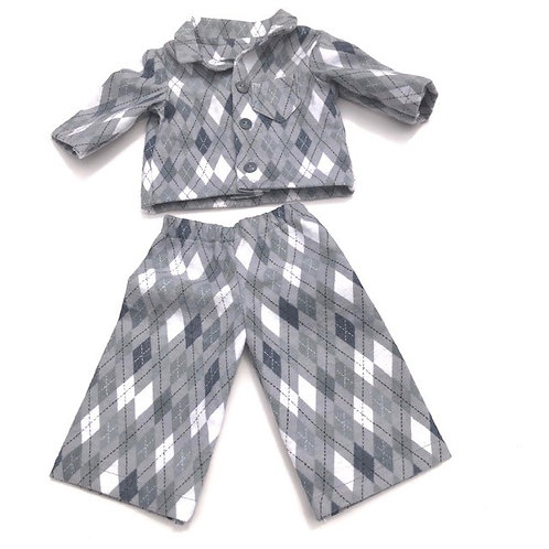 DIAMOND PATTERNED PJ'S - 18 INCH DOLL
