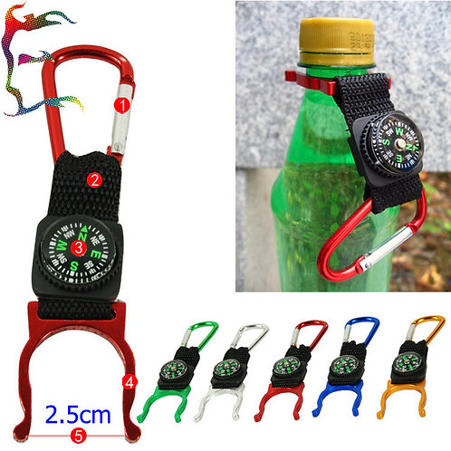 Water Bottle Holder Clip With Compass & Carabiner