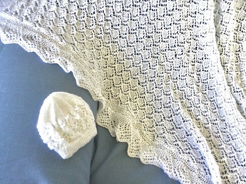 MONIQUE - HAND KNITTED HERITAGE BABY SHAWL - Made in NZ