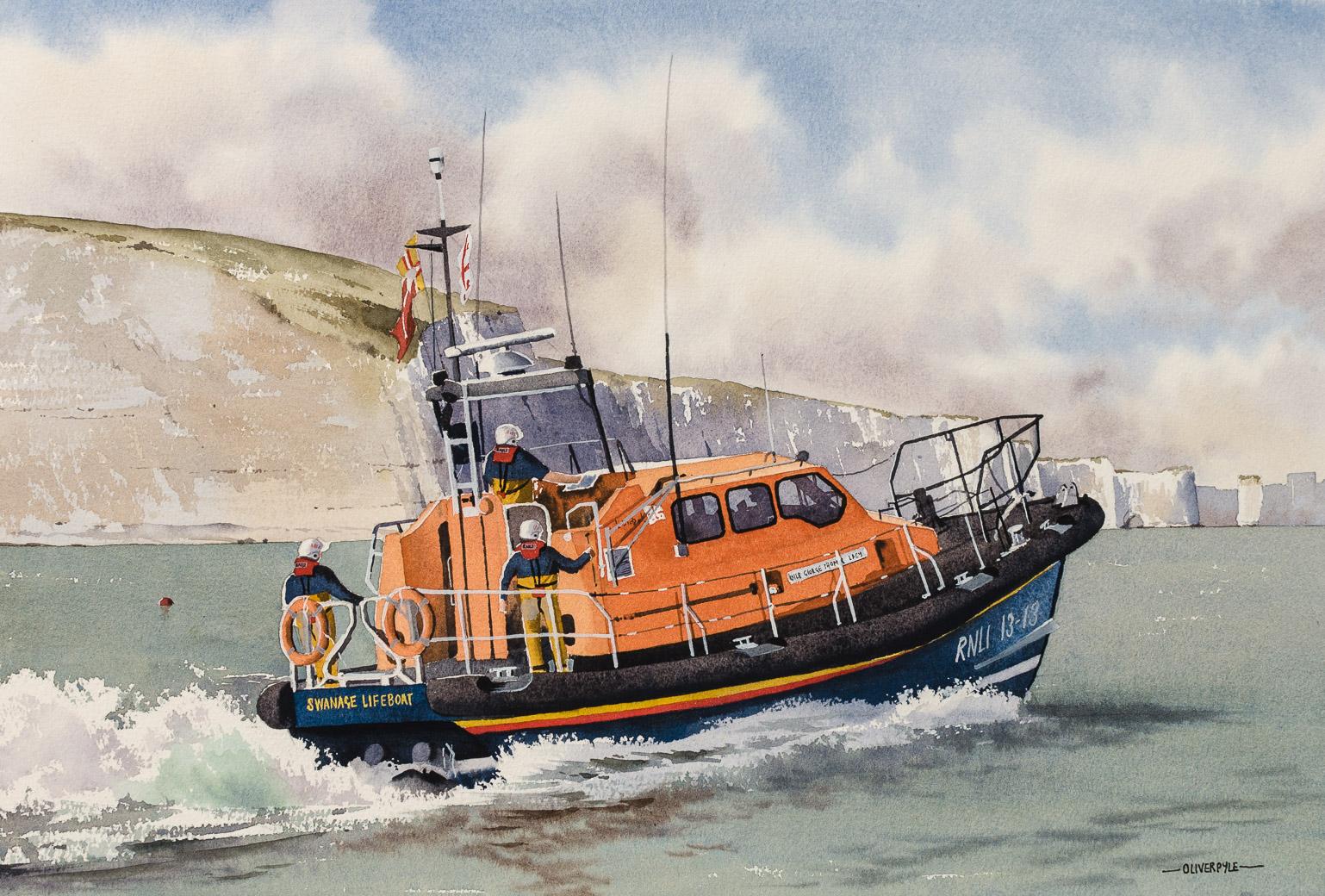 Swanage Lifeboat off Ballard Point