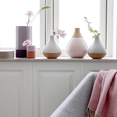Bloomingville Vase Mit Kork In Grau, Ø14,5xH17 Cm