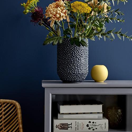 Bloomingville Vase Aus Keramik In Blau, Maße: Ø14,5xH20,5 Cm