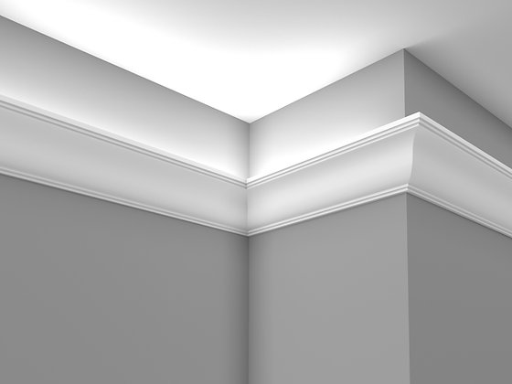 CL-LV12 Plaster Lighting Cornice. Ceiling Projection: 110mm. Wall Height: 110mm