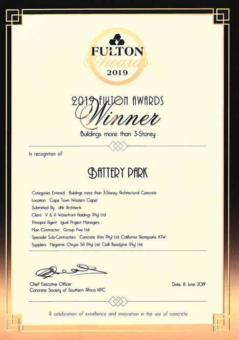 Battery Park Wins the Fulton Concrete Award in South Africa.