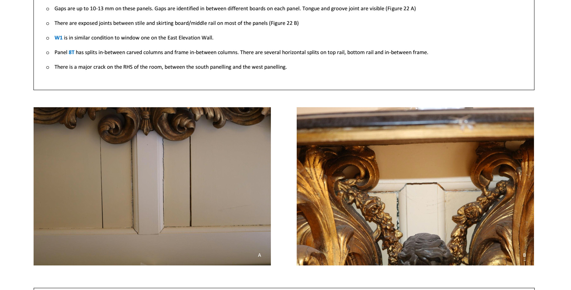 Extract of report timber wall panelling
