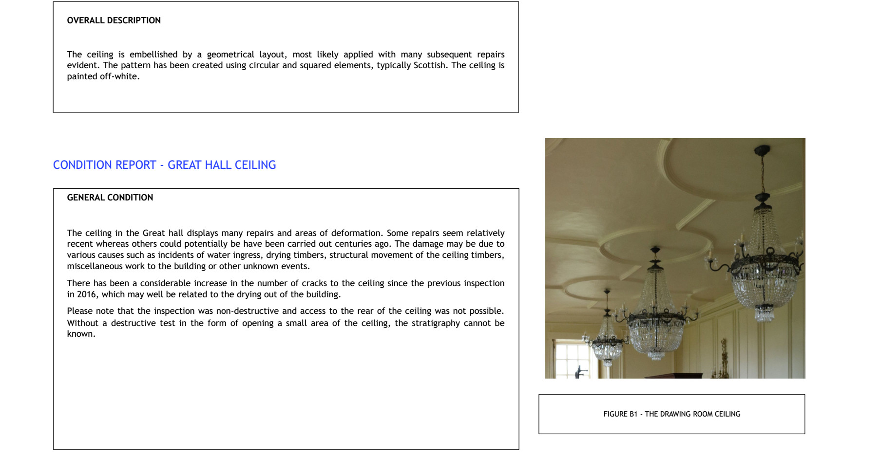 Example Plaster Ceilings Condition Report