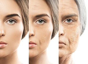 3 images of ladies faces, each one older