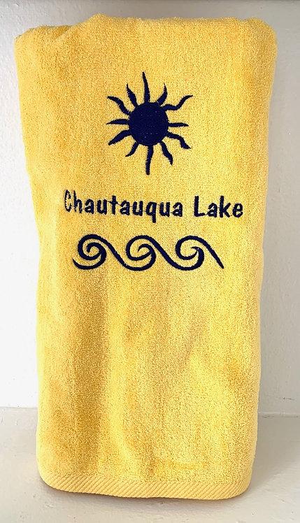 Chautauqua Lake Beach Towel in Sunshine Yellow