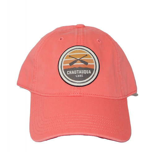 Chautauqua Lake Baseball Hat - Circular Patch with Crossed Oars in Coral