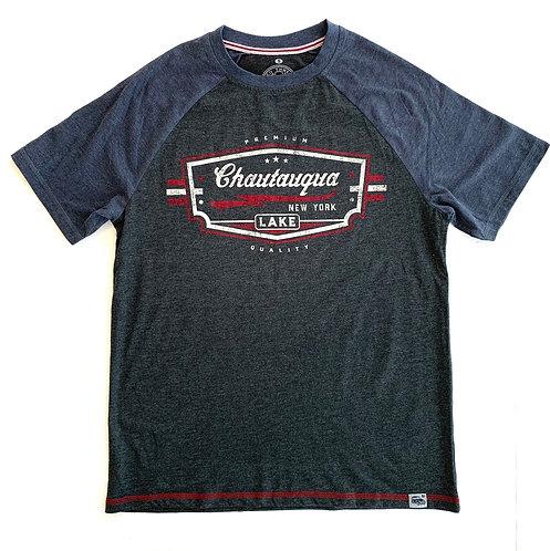 Chautauqua Lake Short Sleeve T-Shirt: Vintage Logo in Denim/Granite