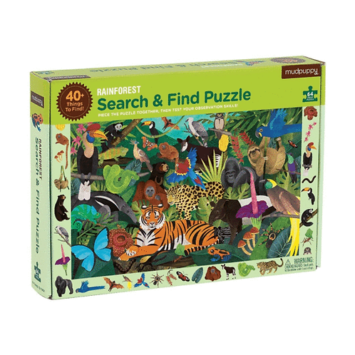 64 Piece Puzzle - Search and Find Rainforest
