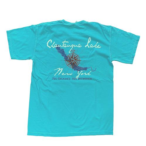 Chautauqua Lake Short Sleeve T-Shirt: No Sharks, No Worries!