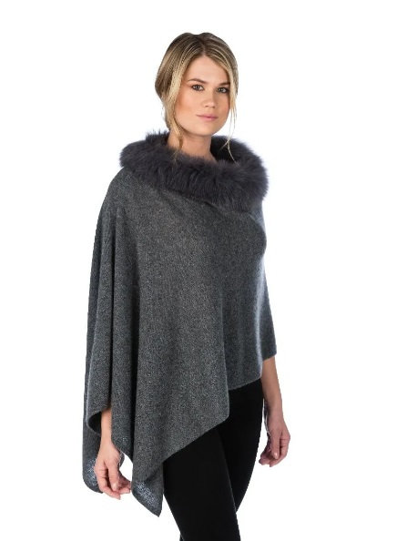 Cashmere Poncho with Trim in Graphite