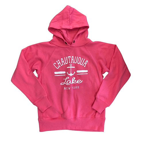 Chautauqua Lake Youth Hoodie with Anchor in Confetti Pink