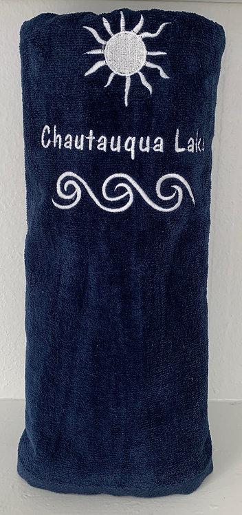 Chautauqua Lake Beach Towel in Navy Blue