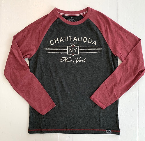 Chautauqua Lake Long Sleeve T-Shirt: Vintage Logo in Red/Granite