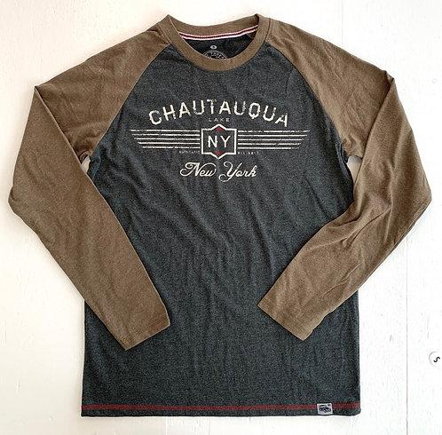 Chautauqua Lake Long Sleeve T-Shirt: Vintage Logo in Earth/Granite
