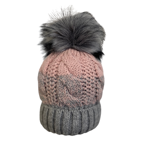 2-Tone Cable Knit Beanie in Pink/Gray
