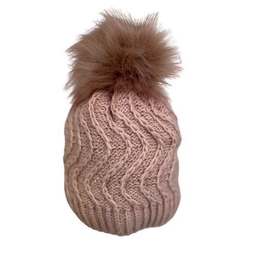 Wave Stitch Knit Beanie with Sequins in Light Pink