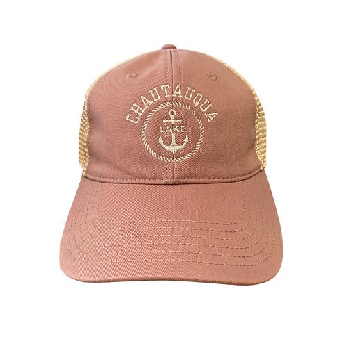 Chautauqua Lake Baseball Hat - Anchor in Circle in Dusty Rose