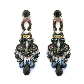 Fabric and Crystal Earrings - Blacktree