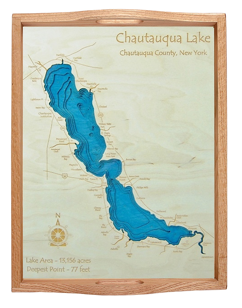 Laser Cut Map Serving Tray - Chautauqua Lake