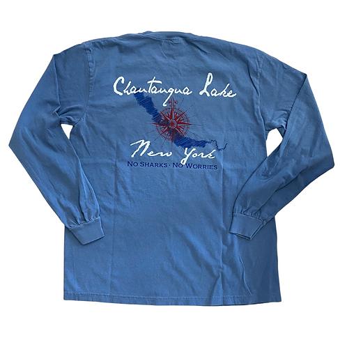 Chautauqua Lake Long Sleeve T-Shirt: No Sharks, No Worries!