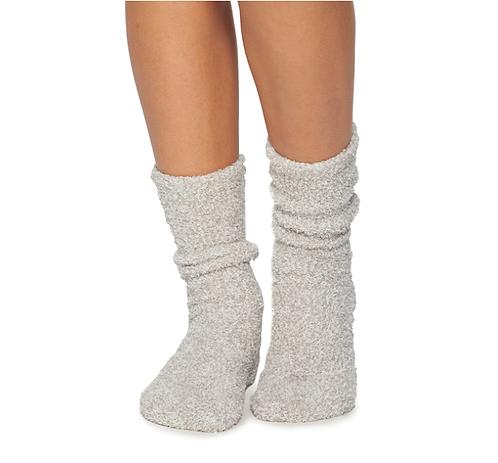 Barefoot Dreams Socks in Stone/White