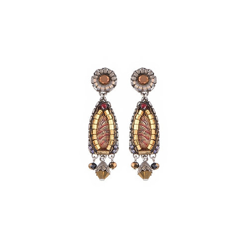 Fabric and Crystal Earrings - Golden Fog