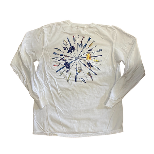 Chautauqua Lake Long Sleeve T-Shirt: Fishing Poles