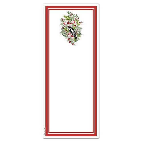 Candy Cane and Woodpecker Notepad with Magnet