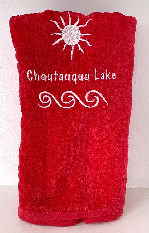 Chautauqua Lake Beach Towel in Salsa Red